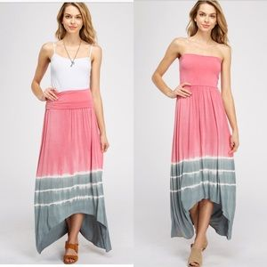 Dresses & Skirts - Pink & Gray Tie Dye Skirt/Maxi Dress